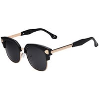 Black Studded Half Frame Square Sunglasses