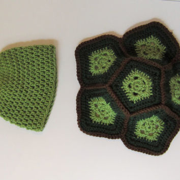 Handmade crochet turtle shell and hat for newborn photo shoot, photo prop, turtle prop, crochet turtle shell