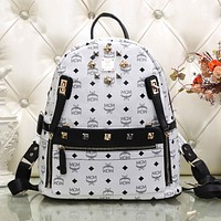 MCM Fashion Print Leather Satchel Shoulder Bag Handbag Backpack