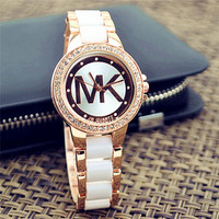 MK Ladies Watch Stylish Pottery Quartz Rhinestone Korean Fashion Bracelet Watch [9521475847]