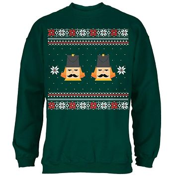 Nutcracker Full Color Ugly Christmas Sweater Dark Green Adult Sweatshirt