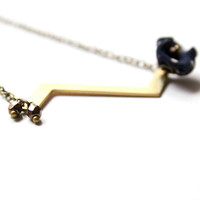 Minimalist Necklace with Zigzag and Silk Flower in Navy Blue - Simple and Rmantic Design