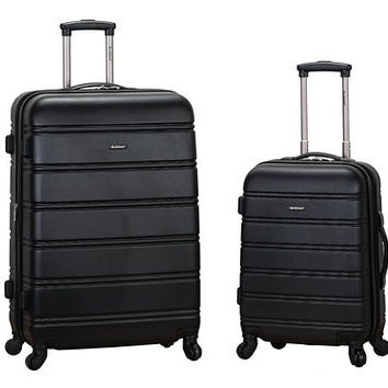 "F225-BLACK 20"", 28"" 2Pc Expandable Spinner Luggage Set"