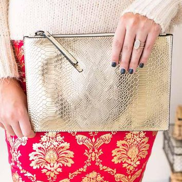 Rivers Of Gold Faux Leather Clutch