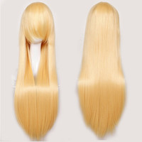 Golden Blonde Full Women Fashion Hair Wig New Long Straight Soft & Thick Costume Cosplay Fancy Dress Party Wigs Fast Shipping