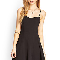 FOREVER 21 Textured Knit Skater Dress Black