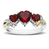 Sterling Silver and 14k Yellow Gold Diamond and Heart-Shaped Created Ruby Ring (0.01 cttw, I-J Color, I3 Clarity)