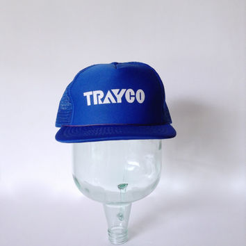 Blue Trucker Hat - Retro SnapBack Adjustable Cap - White TRAYCO Logo - Speedway - Mesh Rope Bill - Industrial Farm Farmer