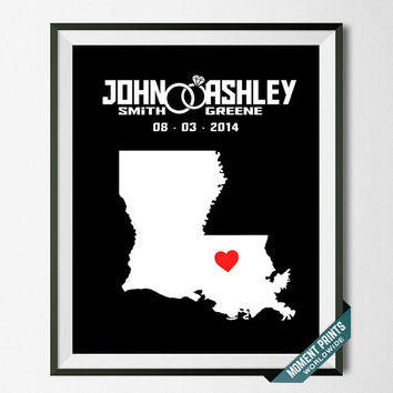 Wedding, Print, Louisiana, Customized, Anniversary, Couple, Personalized, Gift, Map, Custom, Wall Art, Home Decor, Marriage, Love [NO 17]