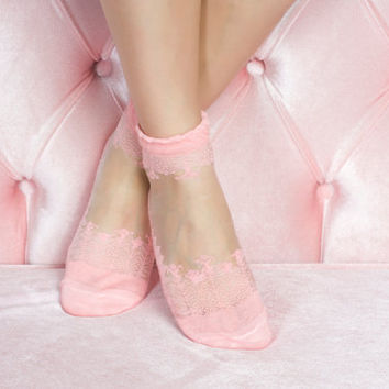 Pink Lace Socks Fashionable lace socks girlfriend gift socks