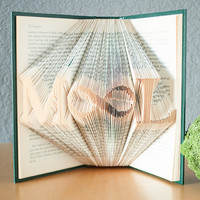 Personalized Gift-Folded Book Art- Book Lover-Home Decor-Initials-Boyfriend-Girlfriend Gift- Infinity