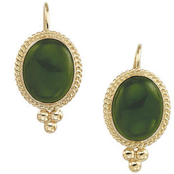 14K Yellow Gold Nephrite Jade Cabochon Earrings