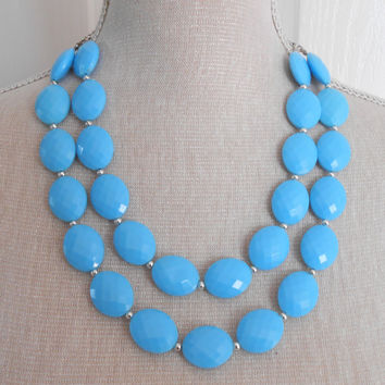 Double strand blue necklace, Chunky necklace, Bib necklace, women gifts, gift for her,  other day gifts, Christmas gift, statement jewelry