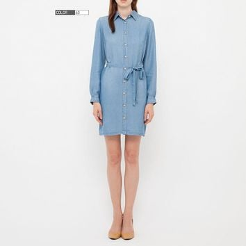 WOMEN DENIM LONG SLEEVE DRESS | UNIQLO