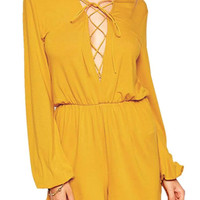 Yellow Long Sleeve Romper with Drawstring