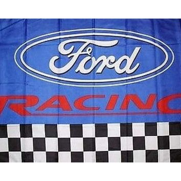 Ford Logo Racing on a 3 x 5 ft blue with white/red trim flag with grommets