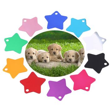 5 PCS Random Cute Blank Alloy Star Pendant Pet Tag Dog ID Anti-Lost  Colorful Double Sides Dog ID Pet Supplies