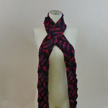 Skinny Entrelac Scarf Knit Pink and Purple Long