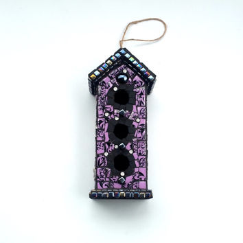 Haunted Bird House Mosaic, Spooky Halloween Mansion, Paranormal Ghost Infested Birdhouse Art, Unique Goth Decor.