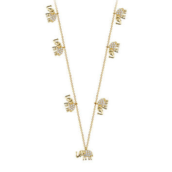 Seven Elephant 14k Solid Gold Luck Necklace