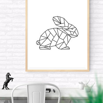 Geometric Rabbit, Origami Art, Printable wall art, Bunny Art Print, Modern hare Art, Nursery Art, kids Room Art, Woodlands Art, Wildlife Art