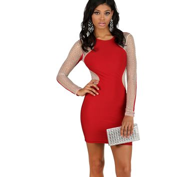 Jenny-  Red Studded Illusion Dress