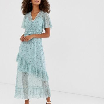 New Look mesh frill dress in blue pattern | ASOS