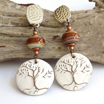 Tree of Life Earrings, White Earrings, Clip on Earrings for Adults, Handcrafted Jewelry, Long Dangle Earrings, Big Earrings, Gift for Her