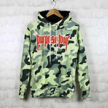Justin Bieber camouflage hooded camouflage sweater, men and women jacket