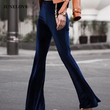 JuneLove 2017 Fashion Velvet Pants women autumn winter slim Flare pants high waist trousers high street style pants bottoms