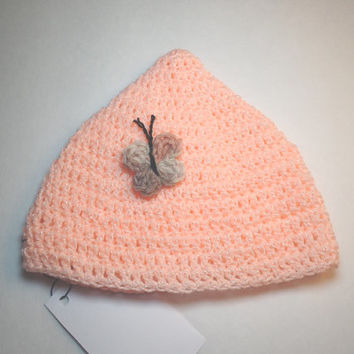 Handmade 6 to 12 months Crochet Infant Butterfly Beanie Imp Hat, Peach, Orange, Baby Hat, Girls Infant hat, Girl's Baby Hat, Crochet hat