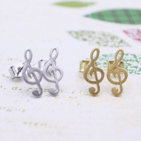 Treble clef earrings with sterling silver post, silver or gold tone