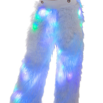 White Pastel Light Up Pants with Clear Suspenders