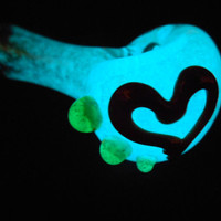 Aqua Blue Glow in the Dark Pipe with Red Heart and Green Slyme Accents