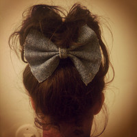 DENIM HAIR BOW Giant Clip