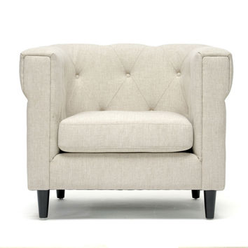 Baxton Studio Chesterfield Chair with Fire-Retardant Foam Cushion