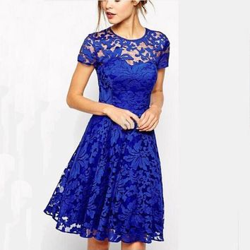 New Fashion Spring Summer Floral Lace Dresses Womens Hollow O-neck Short Sleeve Party Sweet Wedding Perspective Mini Dress