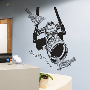 Photo Camera Wall Decal, Photo Camera Wall Sticker, Vintage Camera Photo Studio Wall Decor, Photo Studio Decor, Home Interior Wall Art se128