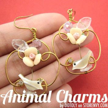 animalcharms | Floral Wire Wrapped Bird Floral Dangle Earrings in Gold |  Affordable Animal Charms and Necklaces