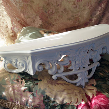 Vintage Wall Shelf Bed Crown White Upcycled Shabby Farmhouse Chic Syroco/Dart