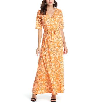 Sexy Women Summer Boho Dress Vintage V-Neck Floral Print Sashes Loose Maxi Long Dresses Casual Short Sleeve Beach Party Dress