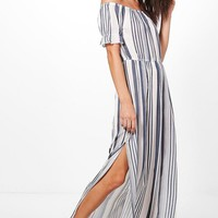 Gracia Stripe Frill Sleeve Maxi Dress | Boohoo