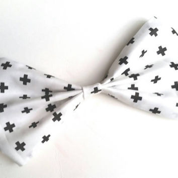 White and Black Big Plus Sign Bow