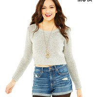 Aeropostale Womens Long Sleeve Cropped Sweater - Gray,
