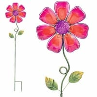 Pink Glass Flower Stake only $21.99 at Garden Fun - Valentine Garden Gifts