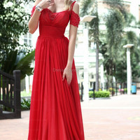A-line Straps Chiffon Floor-length Red Beading Evening Dress at dressestore.co.uk