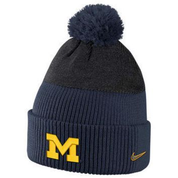 ESBON NCAA Michigan Wolverines Navy New Day Puffed Pom Knit Hat
