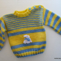 Handmade Knit Baby Sweater, Boy Sweater 6-9 mounths