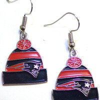 New England Patriots Knit Hat Earrings
