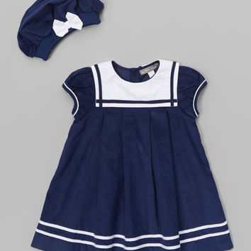 Les Petits Soleils by Fantaisie Kids Navy Blue Corduroy Dress & Beret - Infant | zulily